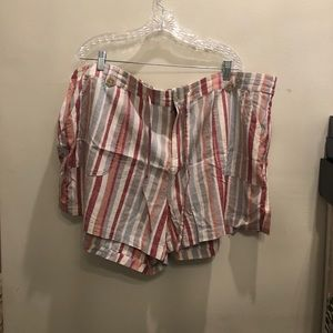 Torrid - Red and Grey striped shorts